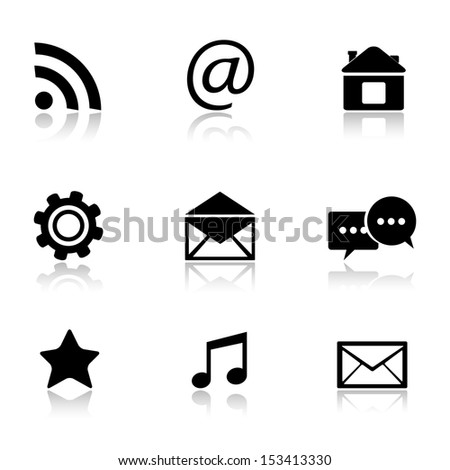 Contact and e-mail icons.