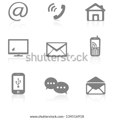Contact buttons set, e-mail icons - stock photo