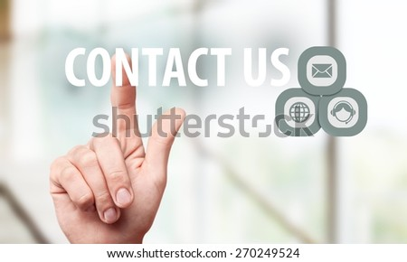 Contact, icon, information. - stock photo