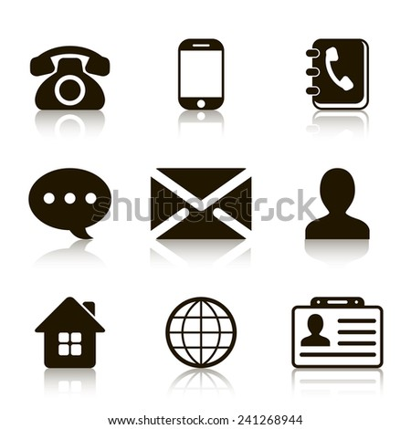 Contact Icons Set with reflection - stock photo