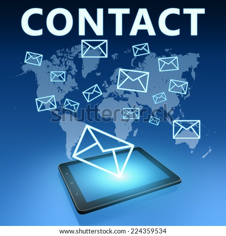 Contact illustration with tablet computer on blue background