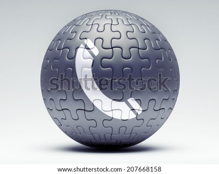 Contact Jigsaw Puzzle Sphere isolated on white