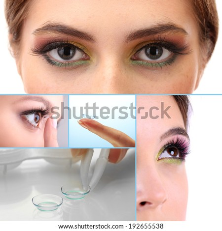 Contact lens collage - stock photo