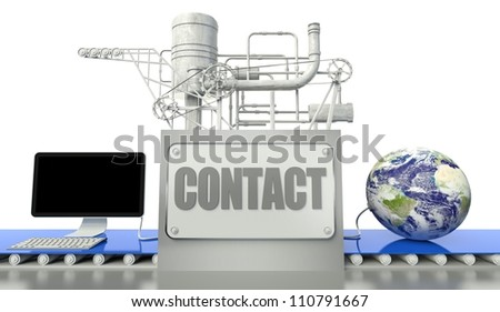 Contact net concept with computer and earth globe