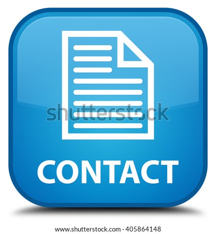 Contact (page icon) cyan blue square button - stock photo
