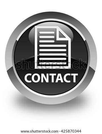 Contact (page icon) glossy black round button - stock photo