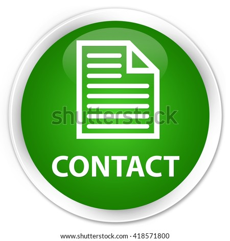 Contact (page icon) green glossy round button - stock photo
