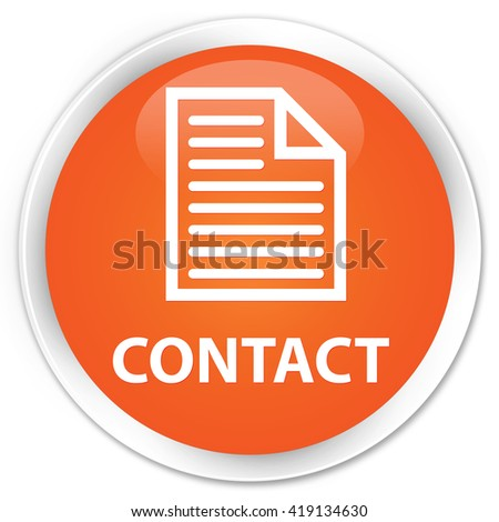 Contact (page icon) orange glossy round button - stock photo