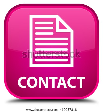 Contact (page icon) pink square button - stock photo