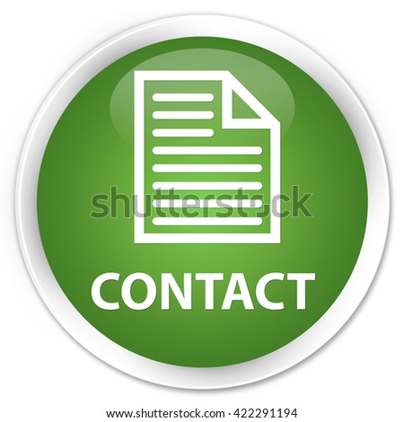 Contact (page icon) soft green glossy round button - stock photo