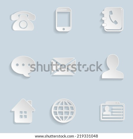 Contact Paper Icons Set - stock photo