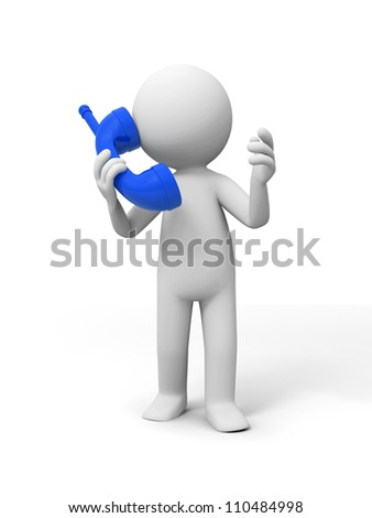 Contact/phone/A people speak by phone - stock photo