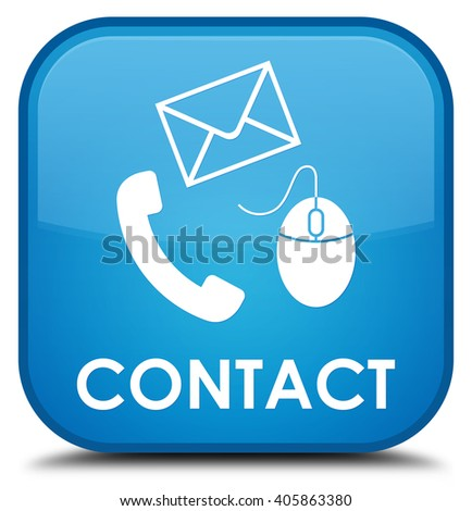 Contact (phone, email and mouse icon) cyan blue square button - stock photo
