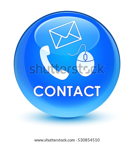 Contact (phone, email and mouse icon) glassy cyan blue round button