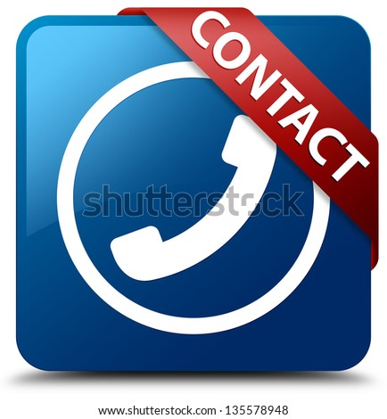 Contact (Phone icon) glassy red ribbon on glossy blue square button - stock photo
