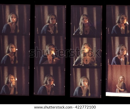 Contact sheet, the old color film positives in a transparent film. Photos from my analog film photo archive - stock photo
