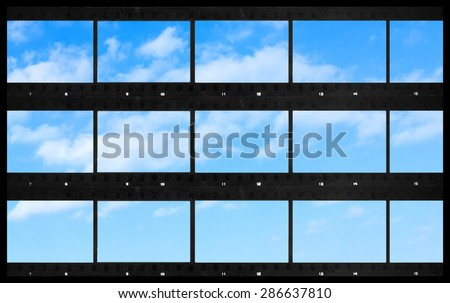 contact  sheets  blank film photography print panoramic sky background - stock photo