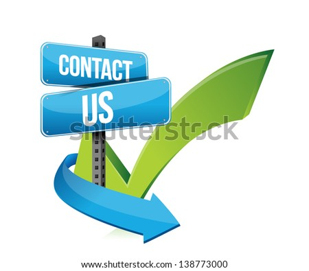 contact us at sign and checkmark illustration design over white - stock photo