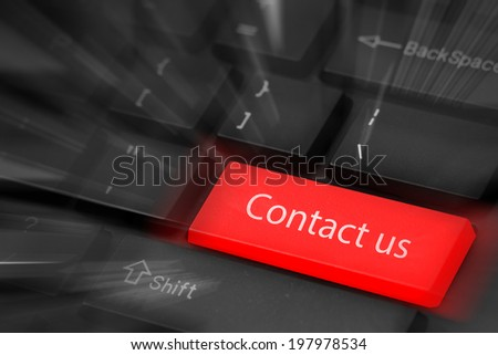 Contact us button keyboard - stock photo