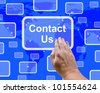 Contact Us Button On Blue For Helpdesks Or Assistance - stock photo