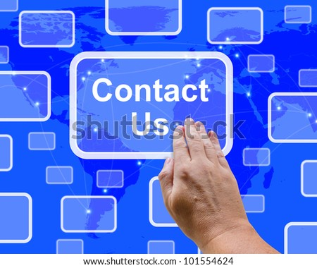 Contact Us Button On Blue For Helpdesks Or Assistance