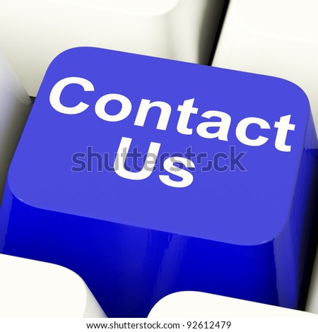 Contact Us Computer Key In Blue For Help Or Assistance - stock photo