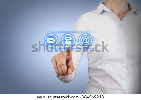 Contact Us Concept on Touch Screen - stock photo