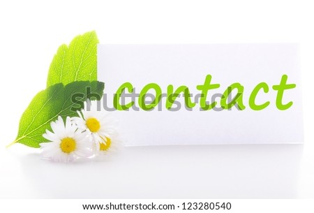 contact us concept with word on nature still life - stock photo