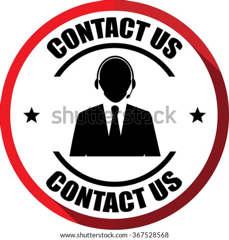 Contact us(Customer care icon) red, Button, label and sign? - stock photo