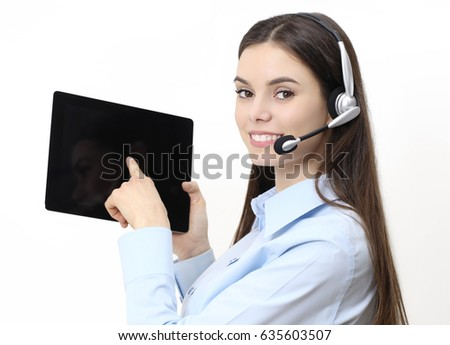 contact us, customer service operator woman pointing digital tablet, with headset smiling isolated on white background