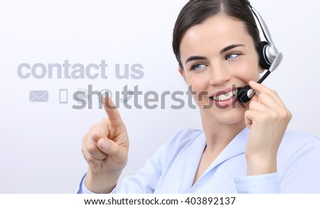 contact us, customer service operator woman with headset smiling and touch icon