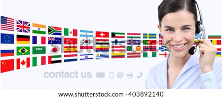 contact us, customer service operator woman with headset smiling isolated on international flags background - stock photo