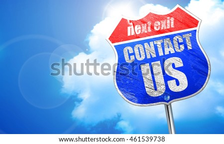 contact us, 3D rendering, blue street sign