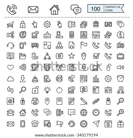 contact us icons collections set in thin line style