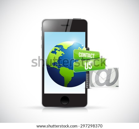 contact us mail phone sign illustration design over white - stock photo