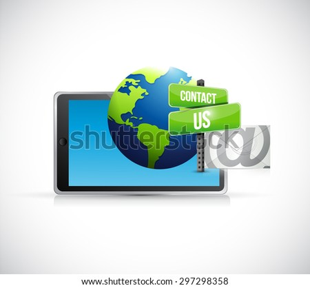 contact us mail tablet sign illustration design over white - stock photo