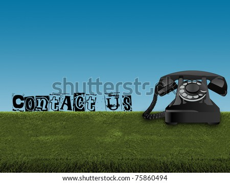 contact us on old telephone in green field and blue sky