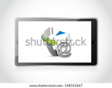 contact us set tablet illustration design over a white background