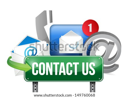 contact us sign and concept illustration design over white - stock photo