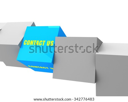 contact us text on box, unique concept