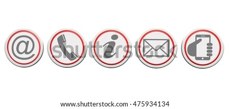 Contact us web buttons set, icons on round buttons isolated on white