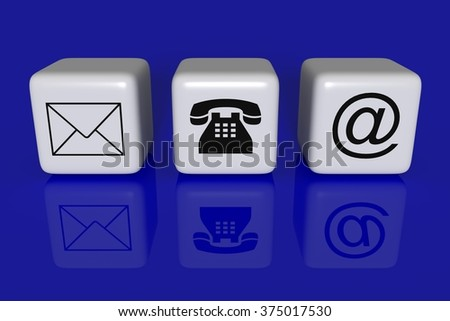Contact us: white cubes on a blue background