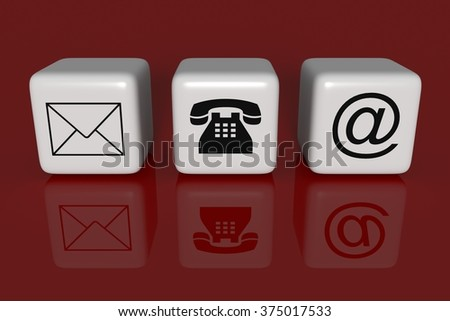 Contact us: white cubes on a red background