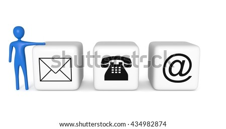 Contact us: white cubes with a blue 3d man on a white background, 3d illustration
