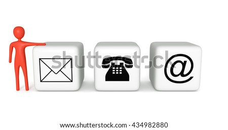 Contact us: white cubes with a red 3d man on a white background, 3d illustration