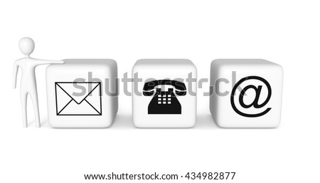 Contact us: white cubes with a white 3d man on a white background, 3d illustration