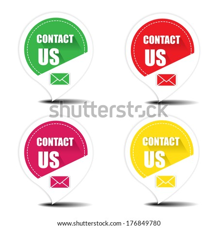 Contact us with envelope colorful stickers, labels, tags, icons and symbols - jpeg format. - stock photo