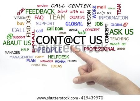 contact us word cloud. hand writing isolated - stock photo