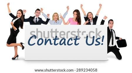Contact us word writing on banner - stock photo