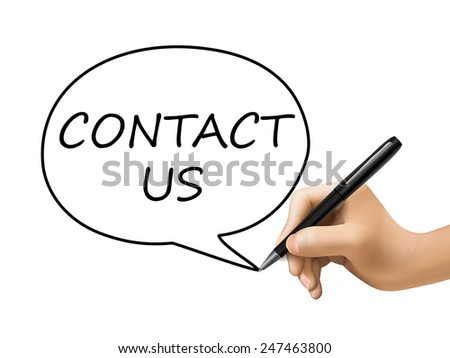 contact us words written by 3d hand over white - stock photo